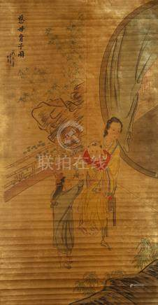 QIU YING   (follower of, 1494 – 1552) Lady Chinese ink and colour on paper, hanging scroll
