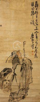 HUANG SHEN   (follower of, 1687 – 1772) Shepherd Chinese ink and colour on paper, hanging scroll