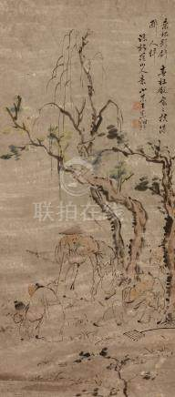 WANG SU(1794 – 1877) Landscape Chinese ink and colour on paper, hanging scroll painting signed