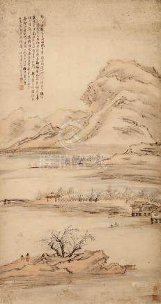 LIANG YUWEI   (1840 – 1912) Landscape Chinese ink and colour on paper, hanging scroll painting