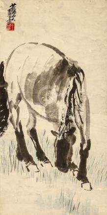 WANG QINGFANG   (attributed to, 1900 – 1956) Horse Drinking Chinese ink and colour on paper, hanging