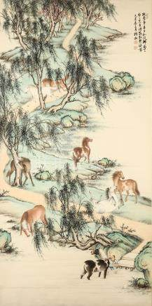 YIN ZIXIANG   (1909 – 1984) Horses in a Landscape Chinese ink and colour on paper, hanging scroll