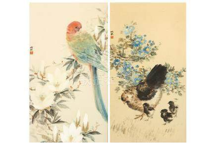 FEI CHENGWU   (1914 – 2001) Bird and Flowers Chinese ink and colour on paper, two framed works