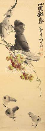 ZHANG XIAOCUN   (1967 –) Birds Below Fruit Chinese ink and colour on paper, hanging scroll