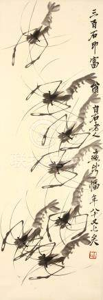 QI BAISHI   (attributed to, 1864 – 1957) Shrimps Chinese ink on paper, hanging scroll painting
