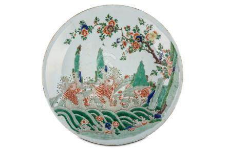 A CHINESE FAMILLE VERTE 'JUMPING CARP' CHARGER. Kangxi. Finely painted to the interior with three