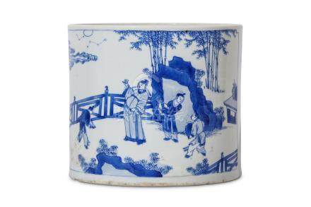 A CHINESE BLUE AND WHITE BRUSH POT, BITONG. Kangxi. Of cylindrical form, the slightly tapering
