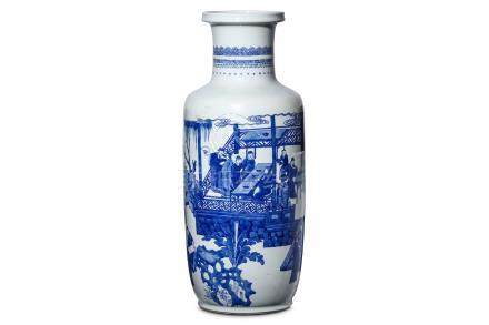 A CHINESE BLUE AND WHITE 'EIGHTEEN SCHOLARS' VASE. Kangxi. Of rouleau-form, painted with a
