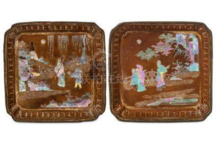 A PAIR OF CHINESE MOTHER-OF-PEARL INLAID BLACK LACQUER TRAYS. Kangxi. Of square form with cut