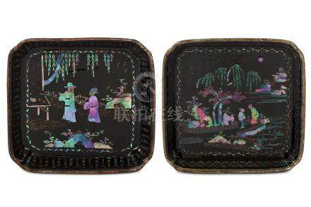TWO CHINESE MOTHER-OF-PEARL INLAID BLACK LACQUER TRAYS. Kangxi. Of square form with cut corners