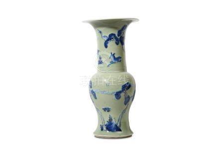 A CHINESE CELADON-GROUND BLUE AND COPPER-RED 'CRANE AND DEER' YENYEN VASE. Kangxi. The waisted lower