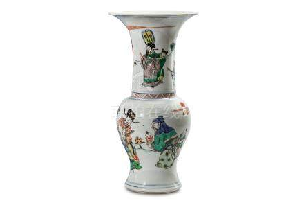 A CHINESE FAMILLE VERTE YENYEN VASE. Kangxi. The waisted lower body rising to a rounded shoulder