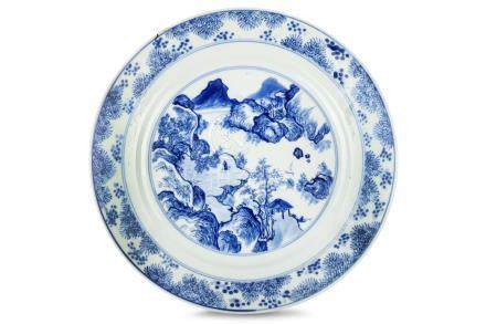A CHINESE BLUE AND WHITE 'MASTER OF THE ROCKS' DISH. Kangxi. Painted to the interior in the '