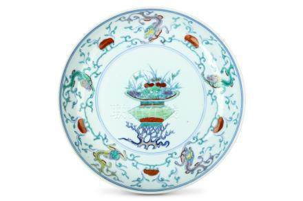 A CHINESE DOUCAI 'FLOWER BASKET' DISH. Qing Dynast
