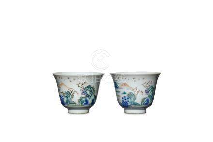 TWO CHINESE WUCAI MONTH CUPS. Qing Dynasty, Tongzh