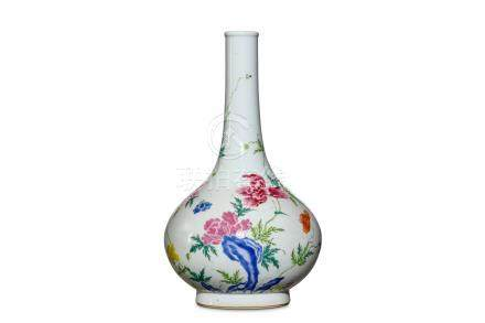 A CHINESE FAMILLE ROSE 'PEONIES' BOTTLE VASE. Qing