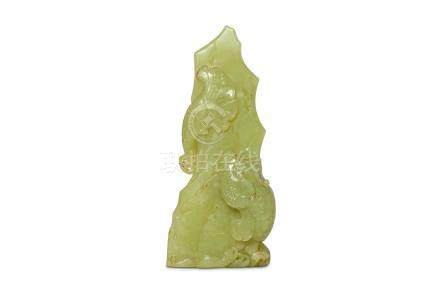 A CHINESE YELLOW JADE 'DRAGON' CARVING. Qing Dynas