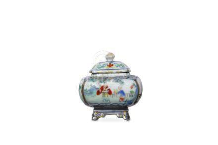 A CHINESE FAMILLE ROSE ENAMELLED UNDERGLAZE-BLUE W