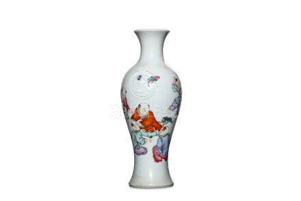 A SMALL CHINESE 'BOYS' VASE. Late 19th to early 20th Century. Finely enamelled with a group of