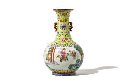 A CHINESE FAMILLE ROSE 'BOYS AT PLAY' BOTTLE VASE.