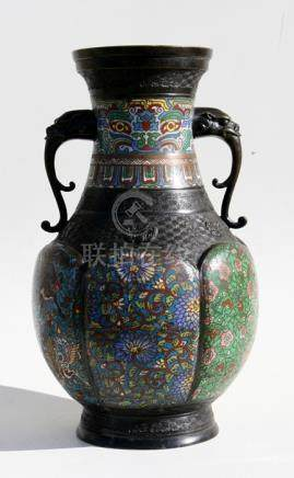 A large late 19th century Chinese bronze & cloisonne enamel two-handled vase decorated with mythical