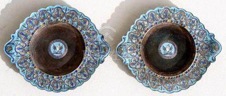 A pair of Chinese silver & enamel dishes with two-character mark to underside, 9cms (3.5ins)