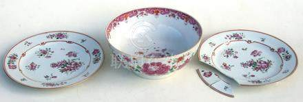 A 19th century Chinese famille rose bowl, 22.5cms (9ins) diameter; together with a pair of 18th /