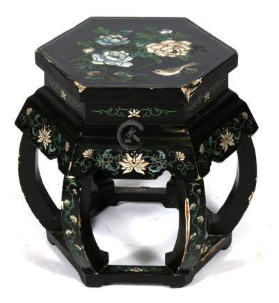 A Chinese lacquer hexagonal drum table decorated with birds and flowers on a black ground, 46cms (
