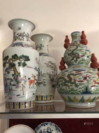 Three assorted Chinese vases.