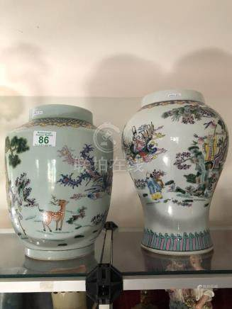 Two bulbous shaped Chinese vases.