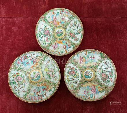 Three 19th Century Chinese famille rose plates.