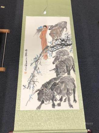 A signed Chinese screen painting.