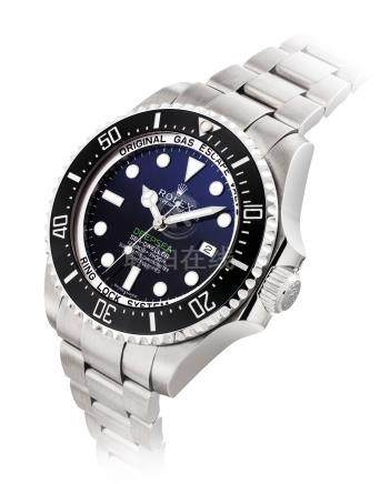 ROLEX.A FINEAND LARGE STAINLESS STEELAUTOMATIC WRISTWATCH WITH SWEEP CENTRE SECONDS, DATE, HELIUM ESCAPE VALVE, CERAMIC BEZEL, BRACELETAND GRADIENT D-BLUE DIAL