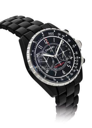 CHANEL.A BLACK CERAMICAND STAINLESS STEELAUTOMATIC CHRONOGRAPH WRISTWATCH WITH DATEAND BRACELET