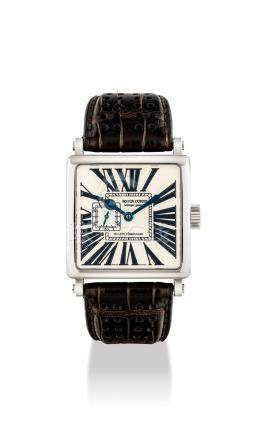 ROGER DUBUIS.A RARE 18K WHITE GOLD LIMITED EDITION SQUARE WRISTWATCH