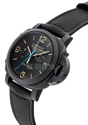 PANERAI.A BLACK CERAMIC CUSHION-SHAPEDAUTOMATIC FLYBACK CHRONOGRAPH WRISTWATCH WITH DATEAND CENTRAL CHRONOGRAPH MINUTE REGISTER
