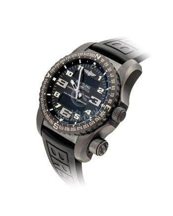 BREITLING.A BLACK TITANIUM MULTI-FUNCTIONAL WRISTWATCH WITH EMERGENCY TRANSMITTER,ALARM, CHRONOGRAPH, COUNTDOWN TIMER, SECOND TIME ZONE, DAYAND DATE