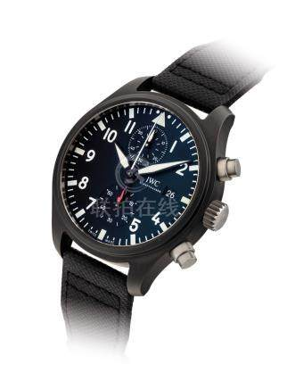 IWC.A BLACK CERAMICAUTOMATIC FLYBACK CHRONOGRAPH WRISTWATCH WITH DATE