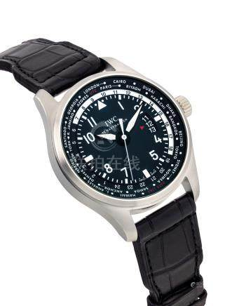 IWC.A STAINLESS STEELAUTOMATIC WORLD TIME WRISTWATCH WITH SWEEP CENTRE SECONDSAND DATE