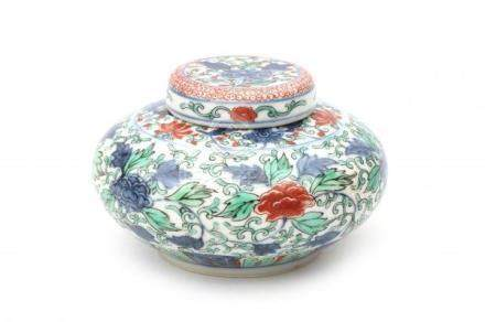 A Chinese famille verte lidded pot, decorated with chrysanthemum, peonies and lotus. marked with