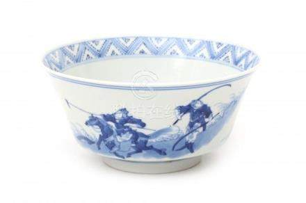 A Chinese blue and white bowl decorated with the well-known 'Joosje te paard' pattern. With