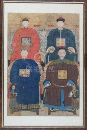 A framed Chinese ancestral painting, with two men and two women in official robes, on the