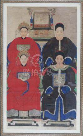 A framed Chinese ancestral portrait, with two men and two women in official robes, in the