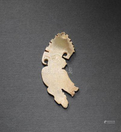 A CELADON JADE CRESTED MYTHICAL BIRD PENDANT