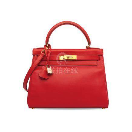 A ROUGE VIF GULLIVER LEATHER RETOURNÉ KELLY 28 WITH GOLD HARDWARE