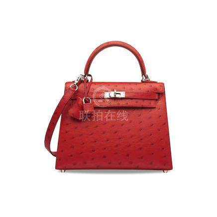 A ROUGE VIF OSTRICH SELLIER KELLY 25 WITH PALLADIUM HARDWARE