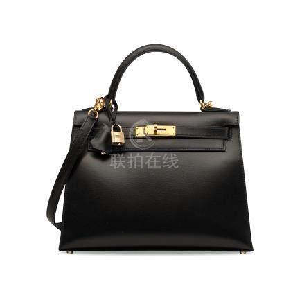 A BLACK CALF BOX LEATHER SELLIER KELLY 28 WITH GOLD HARDWARE