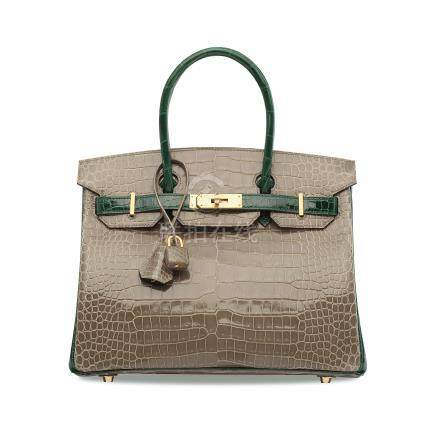 8acb85f2cbf5 A CUSTOM SHINY GRIS TOURTERELLE   VERT FONCÉ POROSUS CROCODILE BIRKIN 30  WITH BRUSHED GOLD HARDWARE