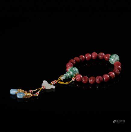 CHINESE RUBY 18 BEAD BRACELET, QING