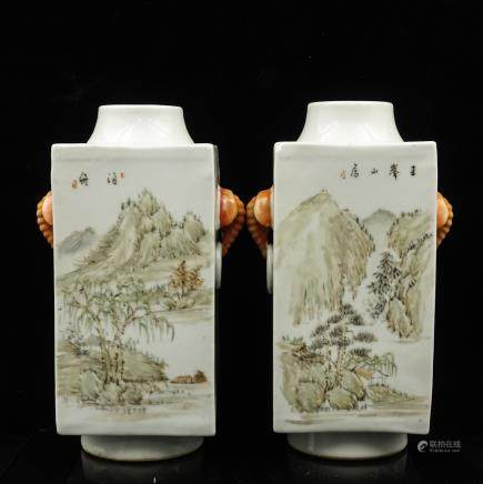 CHINESE QIANJIANG PAINTED PORCELAIN CONG VASES, PA